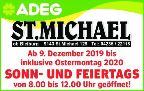 ADEG St. Michael Ob Bleiburg Sonn- Und Feiertagsöffnungszeiten